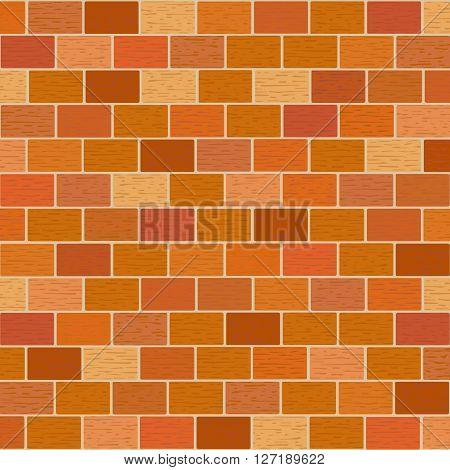 Masonry of red bricks different shades. Vector illustration.  Square location.