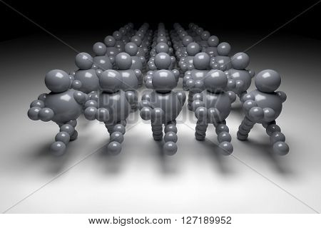 3D abstract grey marching in military order