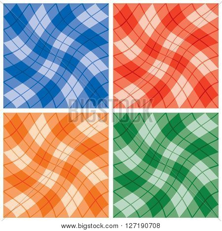Plaid Twist seamless wavy gingham pattern  in four monochromatic color combinations. Colors are grouped for easy editing. Patterns are in Swatches Palette.