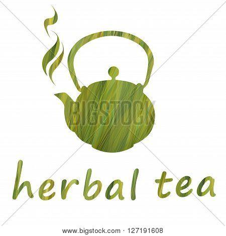 ector design green pattern. Hand drawing. Stencil teapot on a grass background.