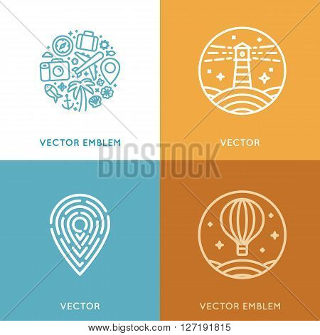 Vector Set Of Logo Design Template In Trendy Linear Style With Icons And Emblems