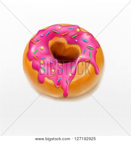 one  donut glazed with pink caramel sprinkles (element for design)