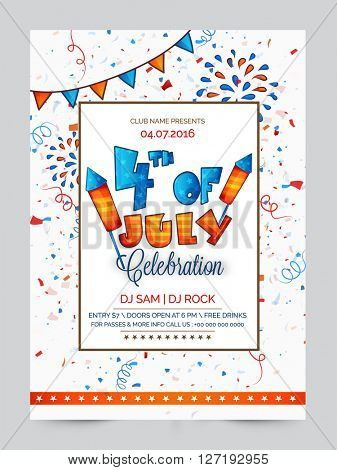 Pamphlet, Banner or Flyer design with American Flag color text 4th of July for Independence Day celebration.