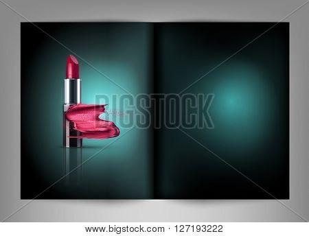 lipstick with smeared lipstick isolated on a dark background(fashion magazine template)(JPEG Version)