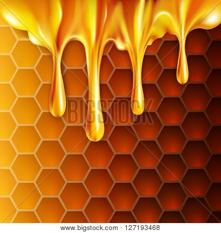 background with honeycombs and honey