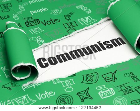 Political concept: black text Communism under the curled piece of Green torn paper with  Hand Drawn Politics Icons, 3D rendering