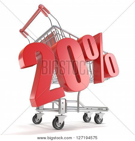 20% - twenty percent discount in front of shopping cart. Sale concept. 3D render illustration isolated on white background