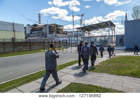 CHERNOBYL UKRAINE - April 26 2016: The Chernobyl nuclear power plant in Chernobyl exclusion zone Ukraine in a summer day