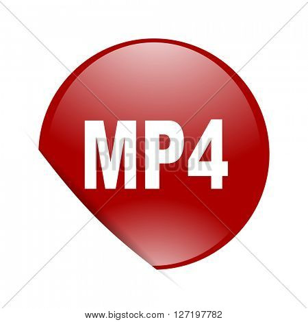 mp4 red circle glossy web icon