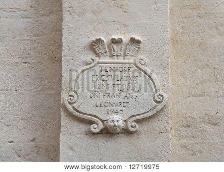 Marble plaque.