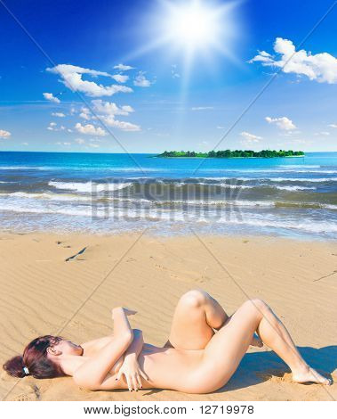 Nudist Beach Posing