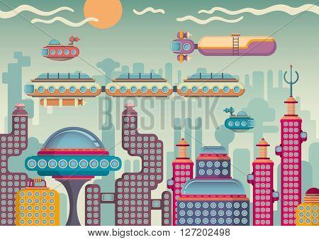 Futuristic city panorama. Vector illustration.