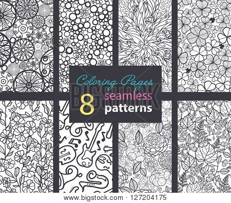 Vector Adult Coloring Book Textures Seamless Repeat Patterns 8 Set With Mandalas, bubbles, Flowers, Musical Instruments, Leaves, Clover. Perfect for coloring fun and decor, packaging. Textile design and surface pattern graphic design set.