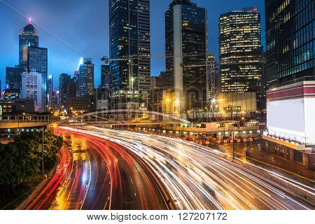 crowded traffic in the downtown district,hongkong china.