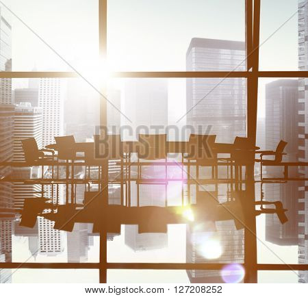 Business Office Silhouette Cityscape Concept
