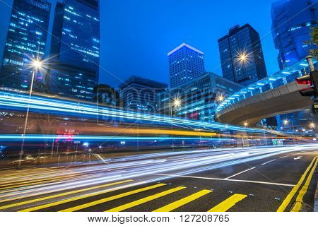 car trails on the high street,hongkong china.