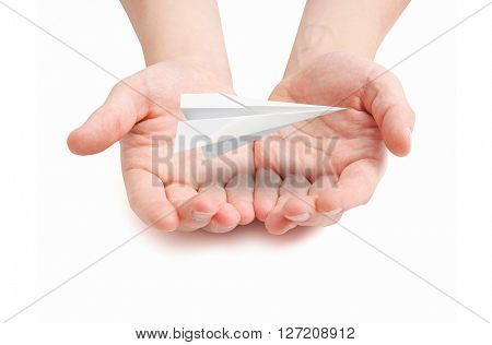 Paperplane hovering over hands
