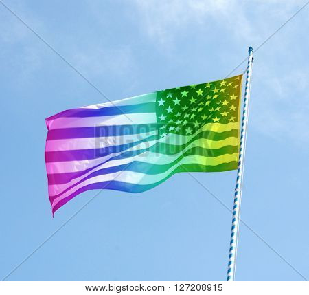 Stars and stripes in rainbow colours