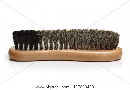 Brown shoe brush isolated on white background.