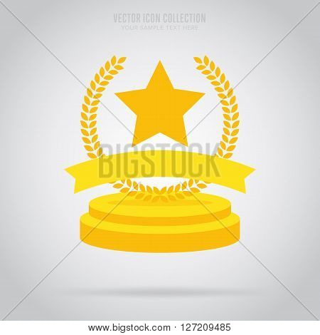 Winner badge isolated vector in flat design style. Trophy winner badge or label. First place. Winner badge. Award rosette badge. Award symbol. Special sign. Winner. Award sign.