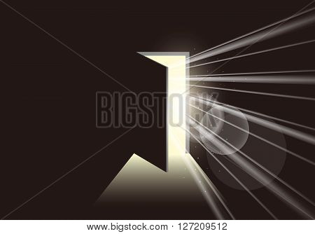 Door opening to show a bright light in the darkness. Bright light through the open door. Freedom and ultimate goal concept.