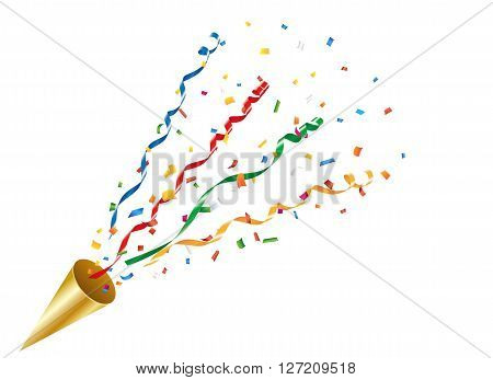 Exploding party popper with a colorful confetti and streamer