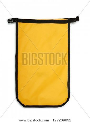 Small yellow dry bag isolated on white