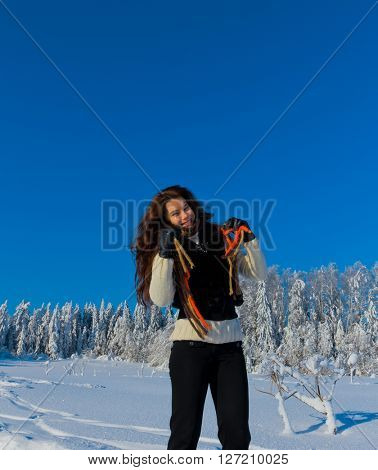 Jolly Winter Girl and Sparkling Snowy Trees