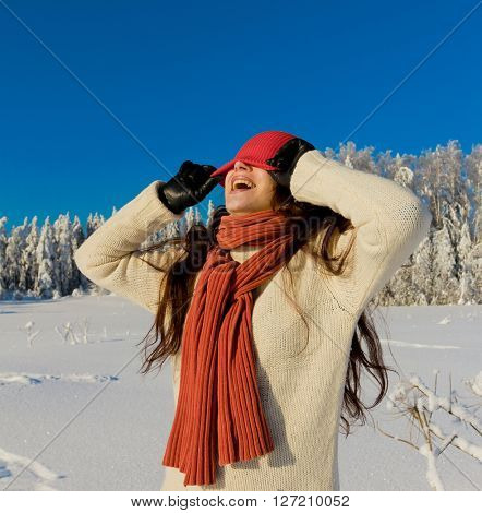 Beautiful Girl and Snow Covered Trees