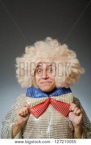 Funny man with afro wig