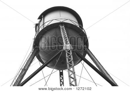 water tower sits high atop a steel supporting structure poster