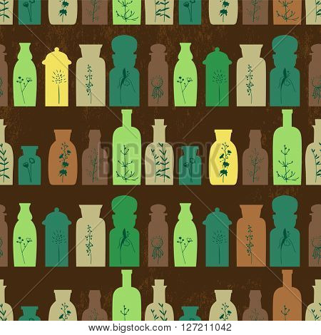 Seamless pattern with small vintage bottles. Endless texture for your design