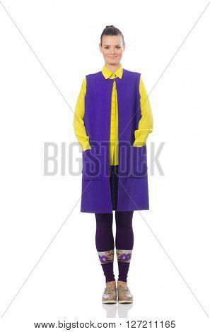 Pretty caucasian model in purple vest isolated on white