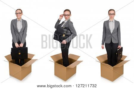 Composite image of woman with boxes on white