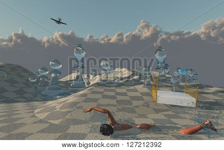 Woman swims through sands of surreal desert 3D Render