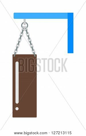 Vector boxing bag flat illustration. Hanging boxing bag isolated on white background. Boxing bag sport equipment. Boxing bag leather protection. Boxing bag.