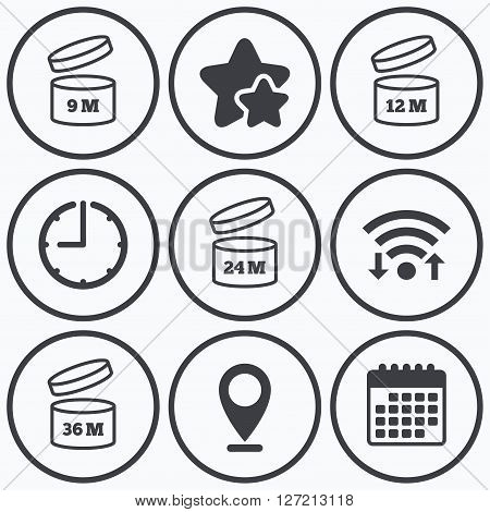 Clock, wifi and stars icons. After opening use icons. Expiration date 9-36 months of product signs symbols. Shelf life of grocery item. Calendar symbol.