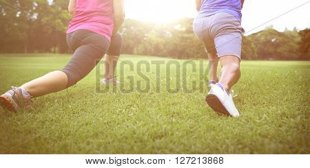 Sport People Stretch Healthy Lifestyle Concept