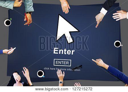Enter Online Join Website Technology Concept