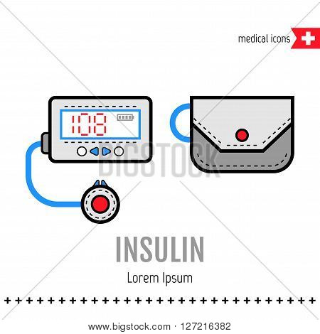 Insulin pump. Equipment for diabetics. Medical flat color icon. Vector illustration