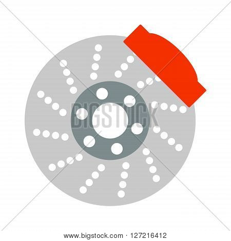 Car brake discs system spare part auto repair vehicle metal automobile tool vector illustration. System car brake discs and steel car brake discs mechanical wheel. Service component technology car.