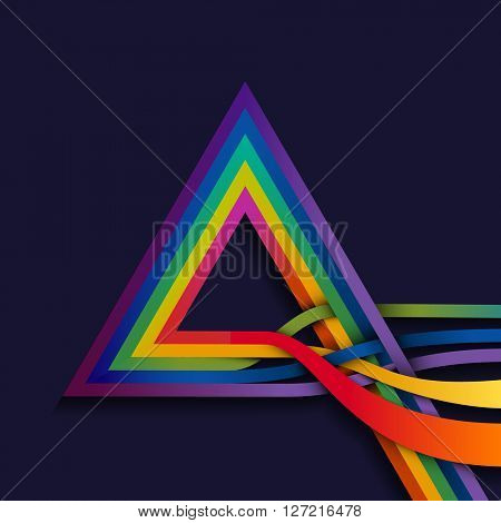 Triangle with multicolored lines, eps10 vector