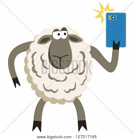 Selfie goofy sheep holding smartphone and taking self portrait with bright flash. Selfie vector concept isolated on white.