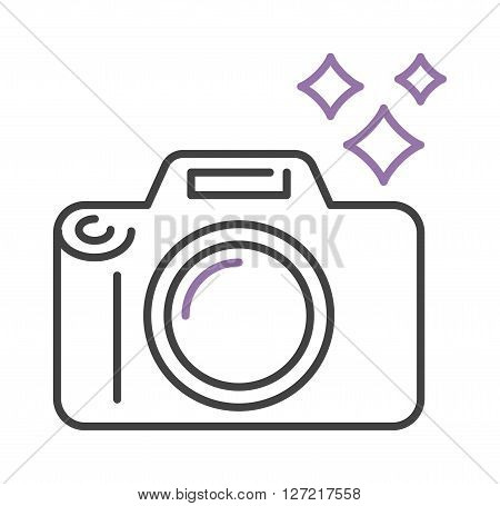 Photo camera icon digital design lens photography symbol vector outline sign. Digital photo camera icon and simple flash photo camera outline icon. Photo camera icon technology frame capture.