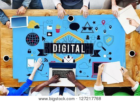 Digital Internet Media Technology Worldwide Concept