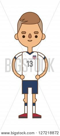 Football England team sport soccer player vector man illustration. Football team men league and soccer play action football team player. Football european team player in uniform vector. Soccer player