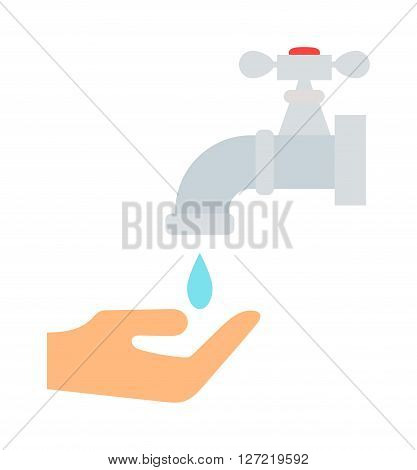 Water saving concept ecology environment drop eco natural flat vector illustration. Global water saving concept and nature care water saving. Environmental water saving global life graphic art.