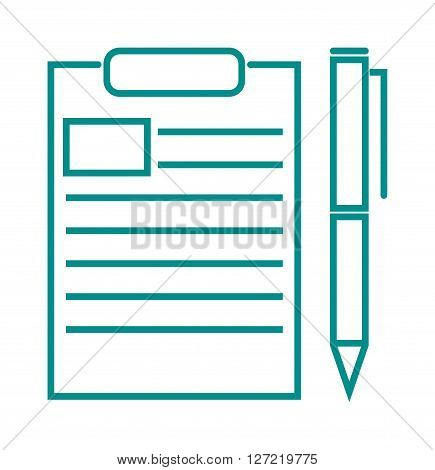 Blank note paper with pen document office page note message outline vector illustration. Office pen and paper and business empty pad pen and paper. Outline empty blank office paper symbol.