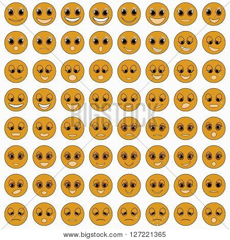 set of emoticons sad tanned good happy vector illustration