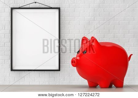 Red Piggy bank style money box in front of Brick Wall with Blank Frame extreme closeup. 3d Rendering